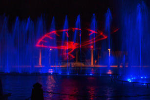 Laser show systems, water fountains, fire fountains and video projections in Porto Cairo Mall, Egypt